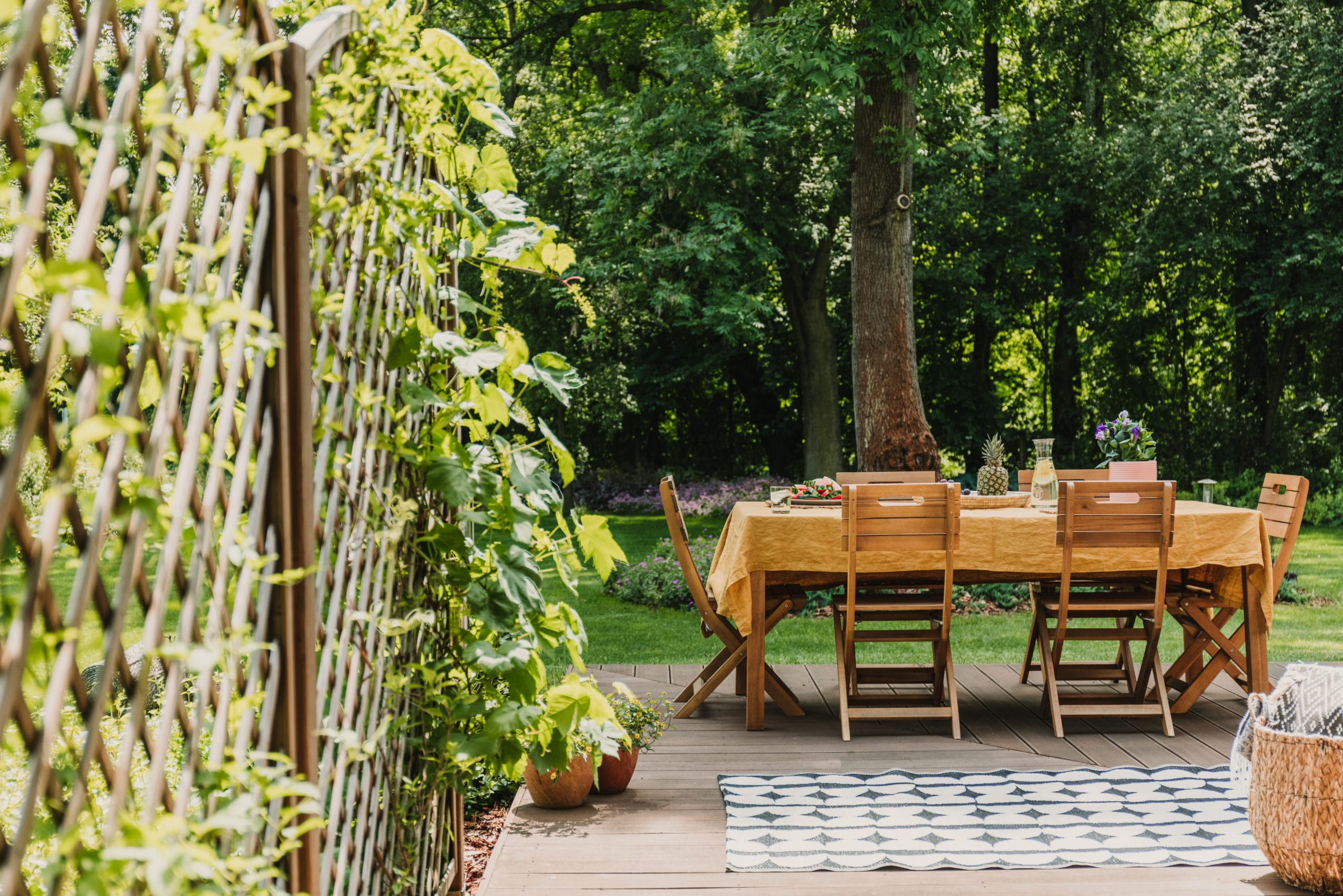 Patio with a dining table